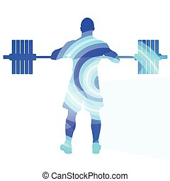 Weightlifter man silhouette illustration background colorful...