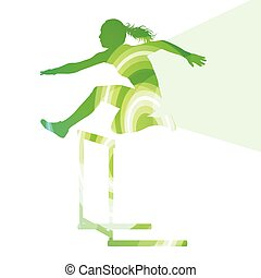 Female athlete clearing hurdle, race silhouette illustration, background, colorful concept