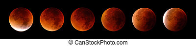 Total lunar eclipse in 6 stages - Collage of 6 stages of a...