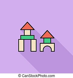 Building block icon Flat vector related icon with long...