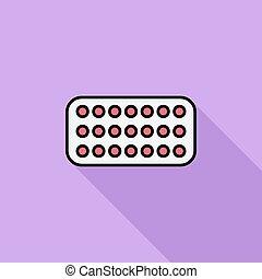 Contraceptive pills. - Contraceptive pills icon. Flat vector...