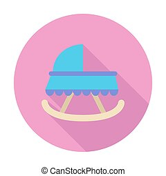 Cradle icon. Flat vector related icon with long shadow for...