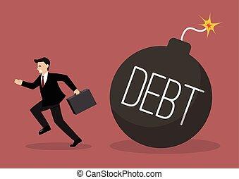 Businessman run away from debt bomb. Business finance...