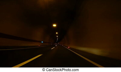 Speed Car Driving through tunnel, abstract with motion blur...