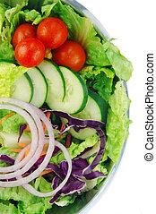 Garden Salad on White Background