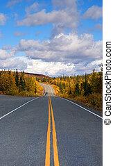 Fall Color Autumn Landscape Alaska Two Lane Road Highway -...