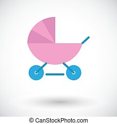 Pram icon. Flat vector related icon for web and mobile...