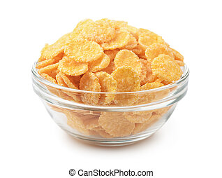 Cornflakes - Glass bowl of cornflakes isolated on white