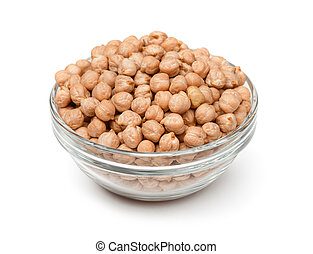 Chickpea - Glass bowl of dried chickpea isolated on white