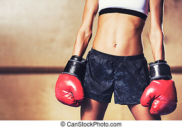 Beautiful Fitness Woman with Red Boxing Gloves - Beautiful...