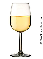 Glass of white wine isolated with Clipping path - Glass of...