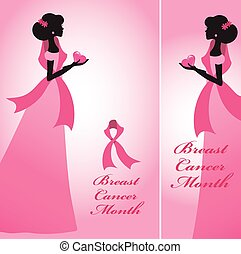Breast Cancer Awareness bannersWoman,pink ribon - Breast...