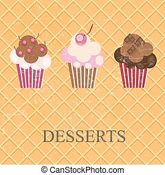 Retro Vintage Grunge Style Dessert Menu. Vector Illustration