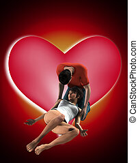 Couple In A Loving Pose - A couple in a passionate loving...