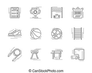 Linear vector icons set for physical education. - Set of...