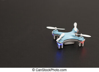 Blue Drone isolated on Black Background