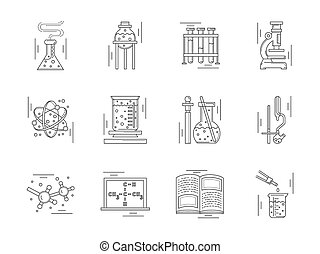 Linear icons vector collection for chemistry.