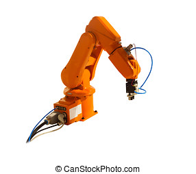 Robotic arm welder on white isolated background.