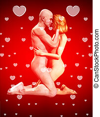 Nude Couple In Love - A romantic nude couple who are in...