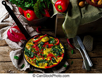 fritatta with potato, pepper, and swiss chard. - fritatta...