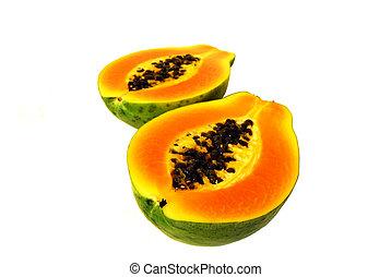Papaya - two nice tasty halves of papaya on white background