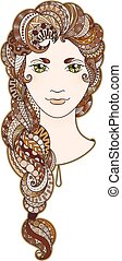 Beautiful girl with intricately patterned, zentangle braid...
