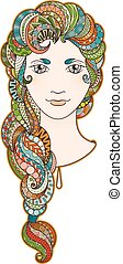 Beautiful girl with intricately patterned, zentangle braid and bright eyes. Vector portrait. Rainbow hair.