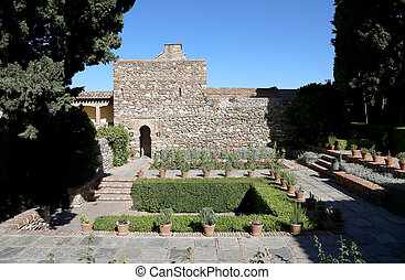 Alcazaba castle on Gibralfaro mountain Malaga, Andalusia,...