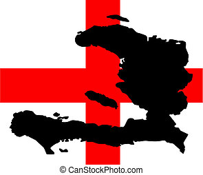 Help Haiti - Vector illustration of a black silhouette of...
