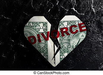 Cracked heart divorce dollar - Cracked heart shaped dollar...