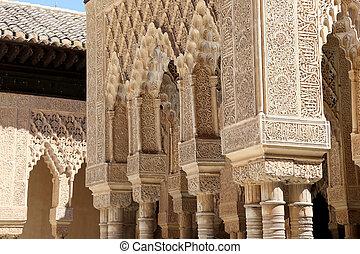 Columns in Islamic Moorish style in Alhambra, Granada, Spain...