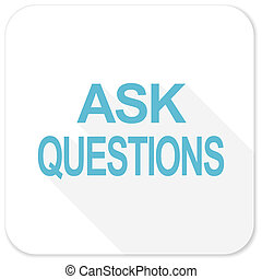 ask questions blue flat icon