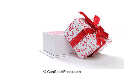 Open white gift box with bow and painted hearts isolated front