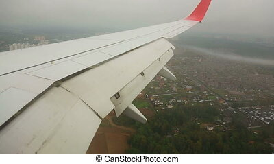 On final approach - Airplane approaching in Vnukovo Airport,...