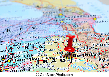 Baghdad pinned on a map of Asia - Photo of pinned Baghdad on...