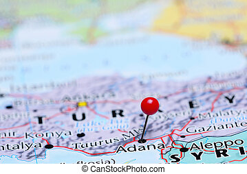 Adana pinned on a map of Asia - Photo of pinned Adana on a...