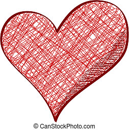 Drawn heart - Red heart in pencil drawn style isolated on...