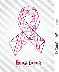 Breast cancer awareness pink ribbon line geometry