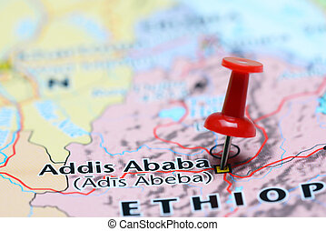 Addis Ababa pinned on a map of Asia - Photo of pinned Addis...