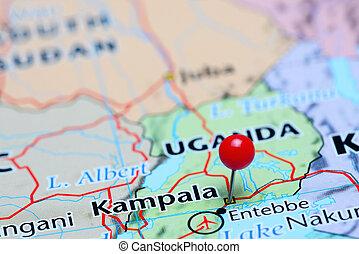 Kampala pinned on a map of Asia - Photo of pinned Kampala on...