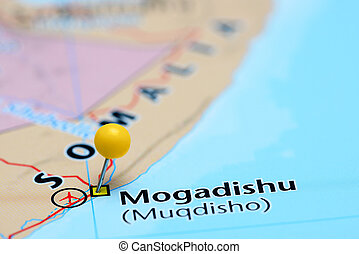 Mogadishu pinned on a map of Asia - Photo of pinned...