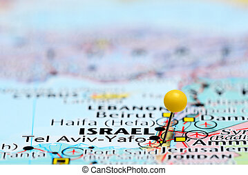 Tel Aviv pinned on a map of Asia - Photo of pinned Tel Aviv...