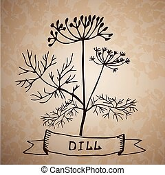 Dill herb with leaf and flower isolated on grange background...