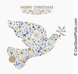 Merry christmas peace dove vintage holiday element - Merry...