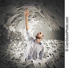Covered by bureaucracy - Man covered with sheets asks for...