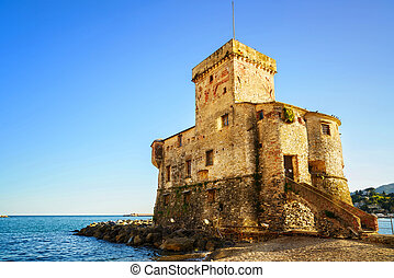 Rapallo, the medieval castle on the sea. Genoa, Ligury,...