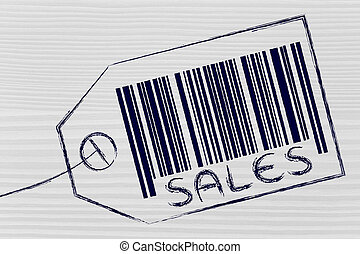 Sales code bar on product price tag - marketing and the...