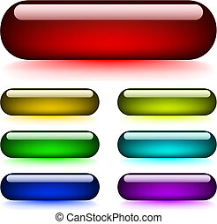 Glossy glowing buttons - Vector set of glossy glowing...