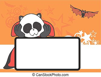 cute panda dracula costume copyspace in vector format
