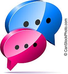 Speech bubbles icon - 3D speech bubbles. Blog, chat or forum...